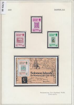 XB40673 Solomon Islands 1979 Sir Rowland Hill stamp on stamp MNH
