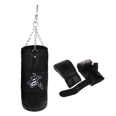 Unfilled Punching Bag with Boxing Punching Gloves for Thai Boxing Training