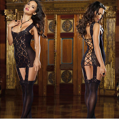 Bellissimo Bodystocking Teddy Catsuit Body Collant Nero Sexy Aperto Fetish