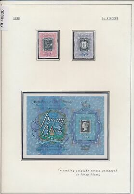XB40830 St Vincent 1990 penny black anniversary stamp on stamp MNH
