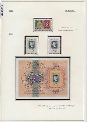 XB40831 St Vincent 1990-91 penny black anniversary stamp on stamp MNH