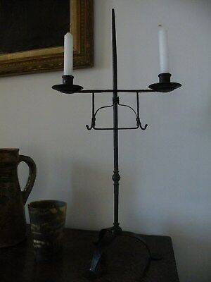 Fine Patinated Wrought Iron Backsmith Made Adjustable 18Th C. Style Candle Stand