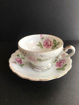 "Royal Sealy China ""Footed"" Tea Cup & Saucer - Vintage Rose"