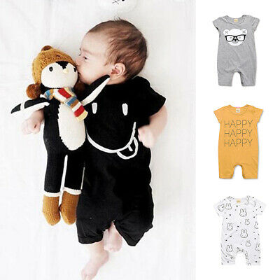 Baby Boys Girls Cotton Romper Jumpsuit Newborn Kids Bodysuit Cute Summer Clothes