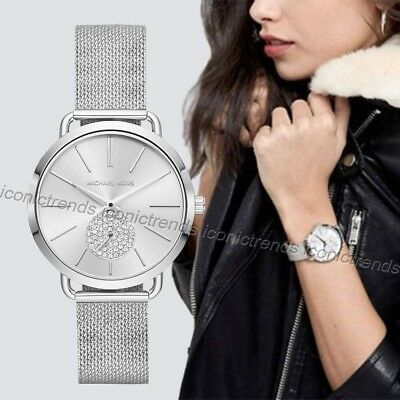 a30787cdc4a6 NWT 💎 Michael Kors MK3843 Portia Stainless Steel Silver Mesh Band 37mm  Watch