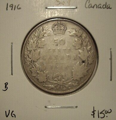B Canada George V 1916 Silver Fifty Cents - VG