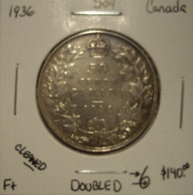 Canada George V 1936 Doubled 6 Silver Fifty Cents - F+