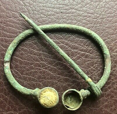 Authentic Ancient Lake Ladoga VIKING Artifact > Bronze Fibula Brooch VV51