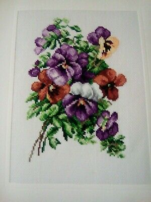 Newly Completed Xstitched Card...pansies 8 By 10 Inches