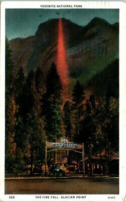 1930s CA Postcard Yosemite National Park Fire Fall Glacier Point Camp Curry Car