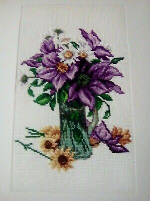 Newly Completed Xstitched Card.... Floral Vase 8 By 10 Inches