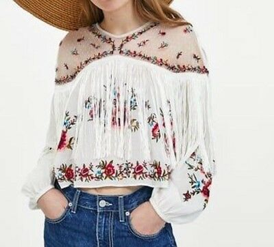 4415cda4 ZARA WOMEN EMBROIDERED Blouse With Ruffles New With Tag Size M - EUR ...