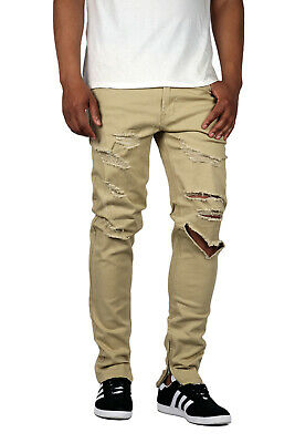 61d4d0cadf1 MEN'S DESTROYED ANKLE Zipper Pants With Side Striped Twill 2 Colors ...