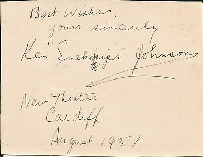 KEN 'SNAKEHIPS' JOHNSON (Jazz), RARE album page, ORIGINALLY SIGNED died @ 26 yrs