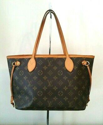 2826127cd Louis Vuitton Neverfull PM Monogram Canvas Leather Tote Hand Bag Auth VI3007