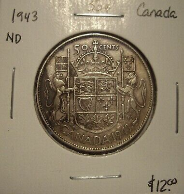 Canada George VI 1943 ND Silver Fifty Cents