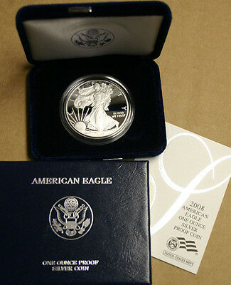 2008 AMERICAN SILVER EAGLE PROOF DOLLAR US Mint ASE Coin with Box & COA