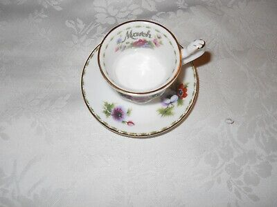 Royal Albert Flower of the Month March Anemones tea cup and saucer set 1970