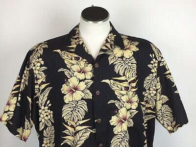 8b72a76b Hilo Hattie Men's 2XL Black Hawaiian Aloha Shirt Hibiscus Flowers Monstera