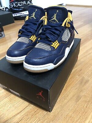 c33e91267a86 NIKE AIR JORDAN 4 Retro  Dunk From Above  Navy Gold White Men s Size ...
