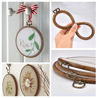 Imitation Wood Cross Stitch Embroidery Hoop Ring Bamboo Sewing Frame 13-20cm NEW