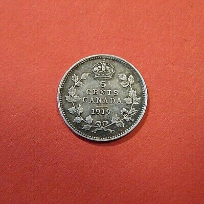 1919 CANADA Canadian FIVE 5 cents piece silver coin