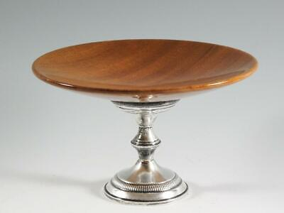 Sterling Silver Base Wooden Compote by Columbia