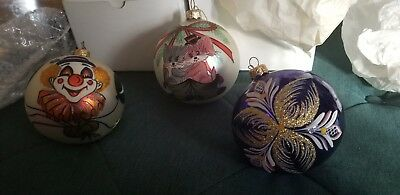 Vintage Hand Painted Glass Christmas Ornaments Boxed 1500
