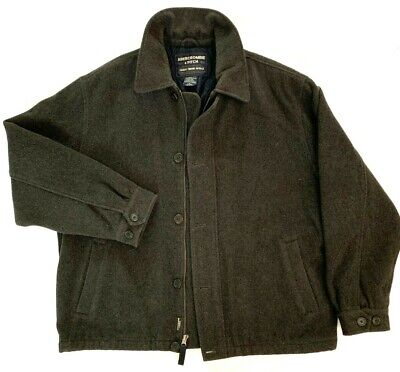 ABERCROMBIE & FITCH Men's L Vintage Charcoal Winter Wool Work Jacket Lined Large
