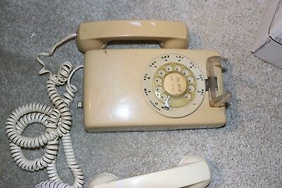 1970s Western Electric Bell System Wall Mount Rotary Dial Telephone, Beige Color