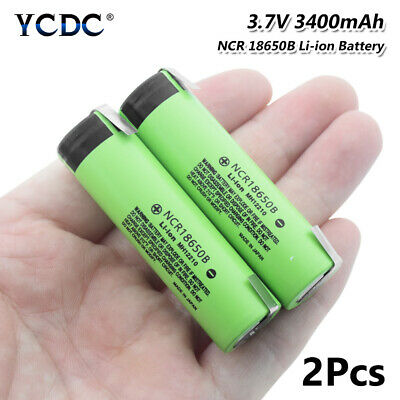 2Pcs 3400mAh NCR18650B Battery High Drain 20A Rechargeable With Tabs Flat Top F