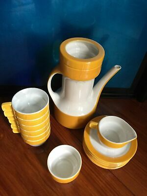 eclectic yellow white TEA OR COFFEE SET PAGNOSSIN BY RICCARDO SCHWEIZER