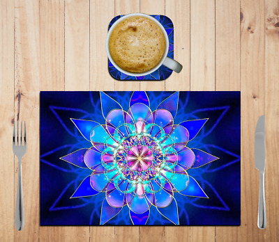 Mandala Place Mat Personalised With or without Name & Drink Coaster Set Large