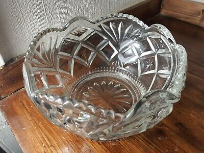 Very Large Glass Fruit Bowl On Pedestal Base 10 Inches by 6 Inches High     kk1