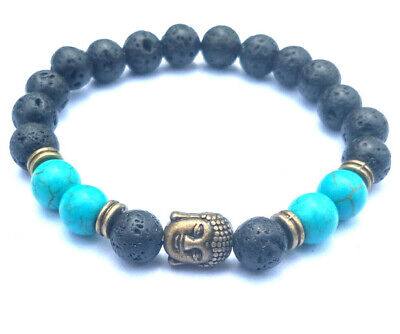 8mm Volcanic Turquoise Bracelet Tibet silver Healing pray Chakas Sutra 7.5inches