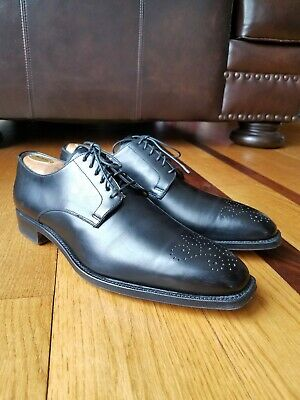 384661ef08c Romano Martegani Men s Black Leather Dress Shoes Oxford Size 10 Made In  Italy