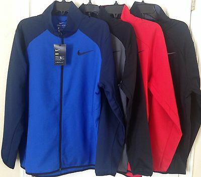 4caa170c1a3c  65 NWT Mens Nike 800199 Dry Team Training Full Zip Dri-Fit Jacket Black  Blue