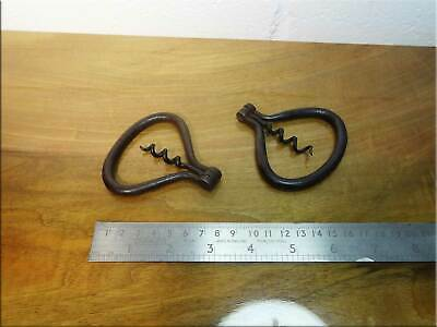 Wrought Iron Cork Screws Pair Handmade by Blacksmith Forged Vintage Antique UK