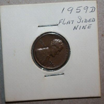 1959 ERROR coin Lincoln wheat one CENT flat 9 unusual