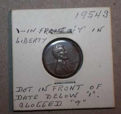 1954 S ERROR coin Lincoln wheat one CENT filled 9 other minor flaw