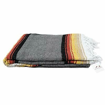 Charcoal Throws Black Mexican Yoga Blanket - Thick Navajo Diamond With Vintage ""