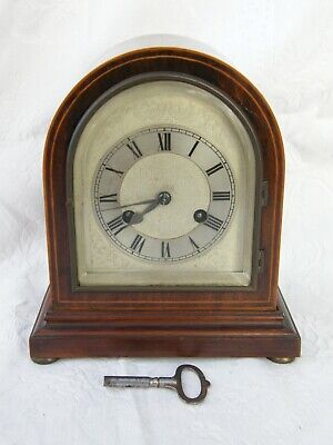 Antique-Inlaid Georgian Style Domed Mantle Clock-Jahersuhrenfabrik-GWO-c1910