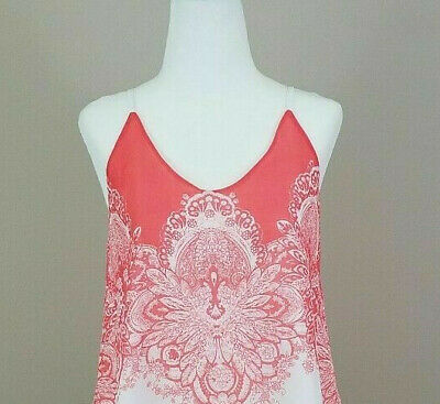17c4a2f1a6dc Blu Pepper Womens Size Small Tank Top Coral White Lined Adjustable Straps
