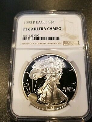 1993-P American Silver Eagle Proof 1 oz. coin - NGC 69 Ultra Cameo