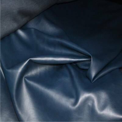 Leatherette Navy faux leather look vinyl upholstery fabric material 142cm wide