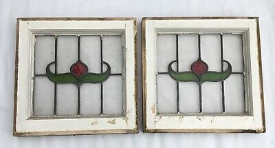 A Pair of Edwardian Stained Glass Windows - H 44.5cm x W 45.5cm