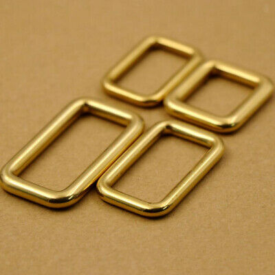 100% Brass Rectangle Belt Buckle Ring for Strapping Webbing Leather Bag DIY