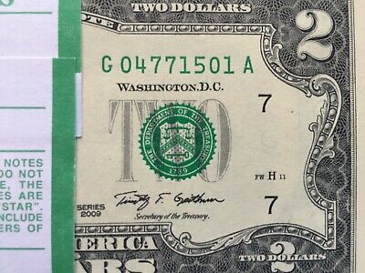 2009 (1 ) Two Dollar Bill, $2 Note (Chicago G ) ,Uncirculated ,consecutive