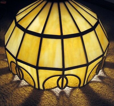 PAIR VTG Stained Glass Leaded Tiffany Style Chandelier Light Ceiling Fixtures