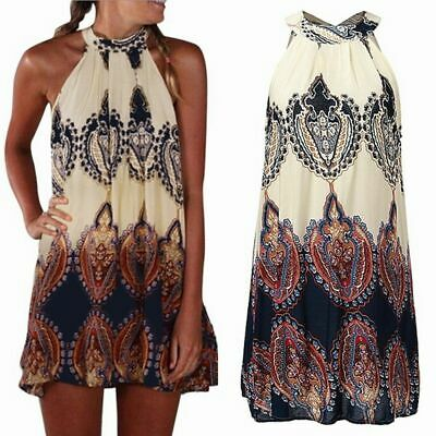 Soft Boho Style Women Summer Mini Party Wear Sleeveless Short Dress Cocktail